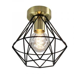 Stoere, goud met zwarte industrie plafondlamp Jochem, Gaaslook