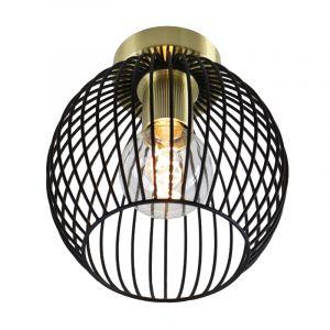Industriële zwart met gouden plafondlamp Wiro Bolvormig klein