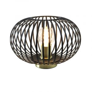Zwart met gouden tafellamp met aan/uit schakelaar Lieve 30 cm, Rond