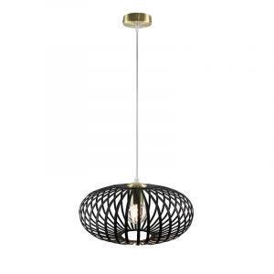 Zwarte met gouden hanglamp Lieve, Rond