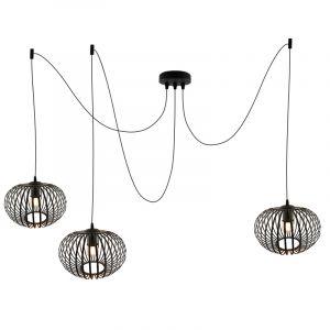 Zwarte 3L spinnenweb hanglamp Lieve, Rond, klein