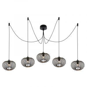 Zwarte 5L spinnenweb hanglamp Lieve, Rond, klein