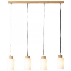 Landelijke, Moderne Hanglamp Jevaiya - Eik, Wit