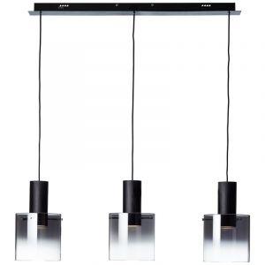 Moderne hanglamp Nour, Zwart, Gerookt Glas