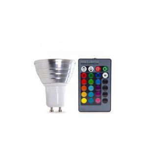 3W RGB LED lamp, GU10 fitting, Met afstandsbediening