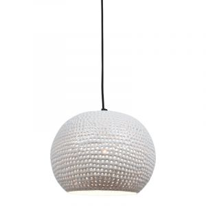 Witte, industriële hanglamp Fawwaz