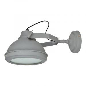 Grijze, industriële wandlamp Fiep