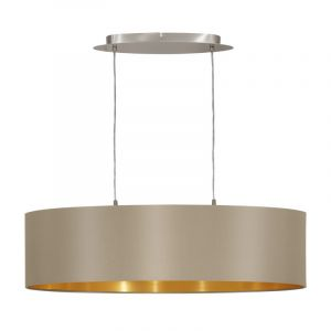 Ovale stoffen eettafel hanglamp Terme Taupe Goud