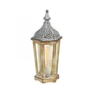 Landelijke Klassieke Houten Glazen Zilveren Transparante tafellamp Katharina