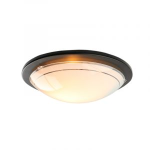 Witte plafondlamp Agena zwarte rand