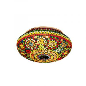 Gekleurde mozaiek plafondlamp Mimoun, mozaiek,metaal