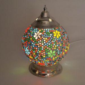 Gekleurde oosterse tafellamp Sabri, glasmozaiek+ metaal