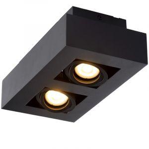 Zwarte dim to warm plafondspot Xirax, incl. 2x  5w GU10