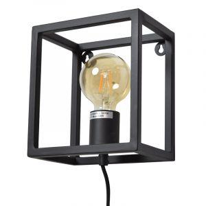 Industriële wandlamp Redox, zwart, vierkant