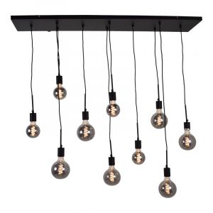 Industriële hanglamp Bolb, zwart, langwerpig