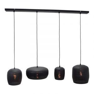 Industriële hanglamp Kasim, zwart, langwerpig