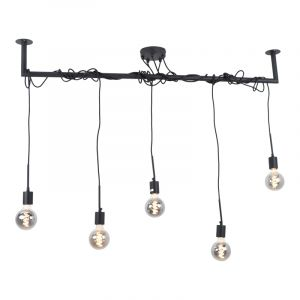 Industriële hanglamp Kester, zwart, langwerpig