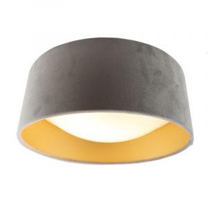 Grijze velours plafondlamp met gouden binnenzijde