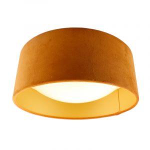 Oranje velours plafondlamp met gouden binnenzijde
