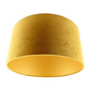 Okergele en gouden velours lampenkap Melanie, 50 cm