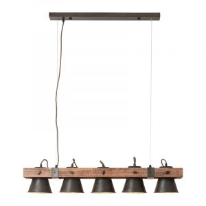 Industriële eettafel hanglamp Audrey, zwart, hout
