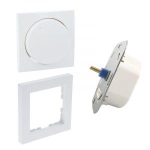 LED dimmer, 5 - 150W, met witte afdekraam en centraalplaat