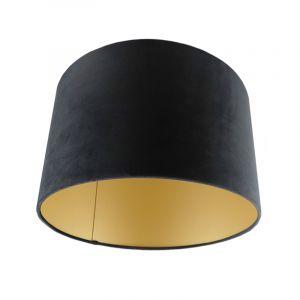 Zwart/gouden velours lampenkap Madelyn, 30 cm