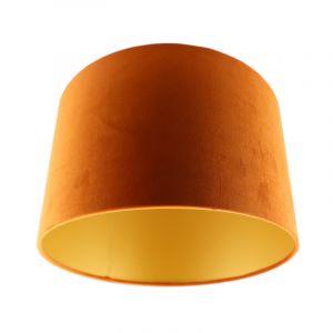 Oranje/gouden velours lampenkap Madelyn, 30 cm