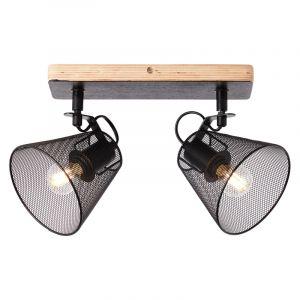 Industriële Plafondspot Havin, Zwart, hout