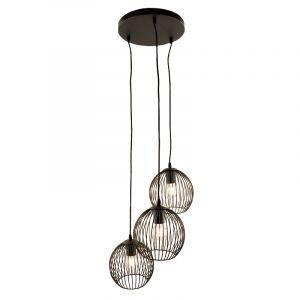 Zwarte ronde 3L hanglamp Wiro bolvormig, klein