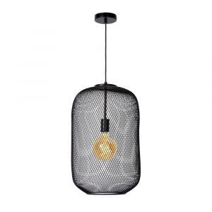Zwarte hanglamp Mesh, staal