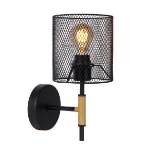 Zwarte wandlamp Baskett, staal