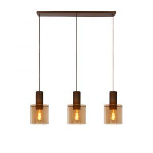 Amberkleurige hanglamp Toledo, aluminium