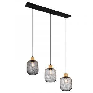 Gaas hanglamp Cristel 3L, zwart, modern