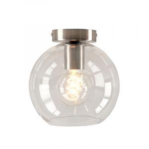Design plafondlamp Hanae, transparante glazen bol, chroom fitting