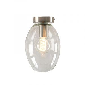 Design plafondlamp Hanae, transparant ovaal glas, chroom fitting