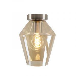 Design plafondlamp Hanae, amber diamant glas, chroom fitting
