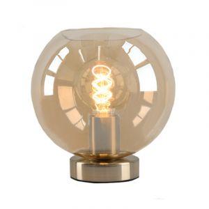 Stalen Design tafellamp Hatice met amberkleurige glazen bol