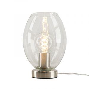 Stalen Design tafellamp Hatice met transparante ovale glaskap