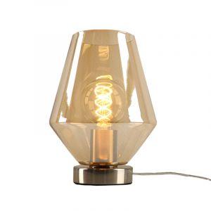 Stalen Design tafellamp Hatice met amberkleurige diamant glaskap