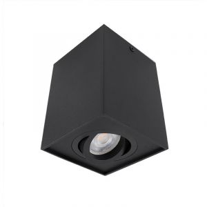 Vierkante, zwarte opbouwspot Dane, Richtbaar