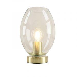 Design gouden glazen tafellamp Maury,transparante ovale kap