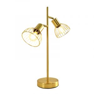 Industriële tafellamp Bram, goud met gouden kapje, Rond, 3L