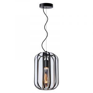 Zwarte hanglamp Fern, glas