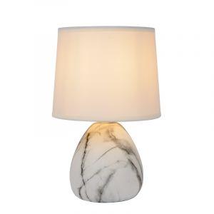 Witte Tafellamp Marmo, keramiek, met aan/uit schakelaar