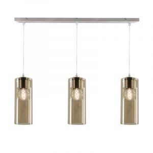 Stalen design hanglamp 130 cm Laurence met 3 amberkleurige glazen kokers