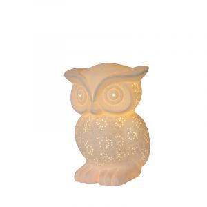 Witte Tafellamp Owl, keramiek