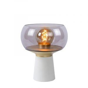 Witte Tafellamp Farris, glas, met aan/uit schakelaar