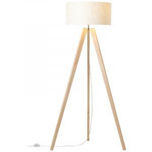 Moderne vloerlamp Bojana, Hout, met Aan/uit schakelaar op het snoer