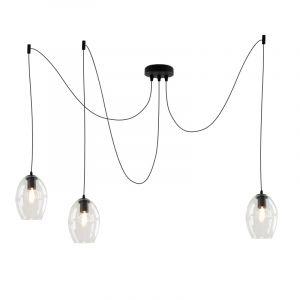 Desgin plafondlamp Penny met 3 transparante ovale kappen